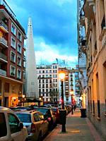 Lope de Rueda street, night view. Madrid, Spain.