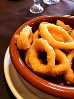 Calamares a la Romana, fried squids. Spain.