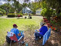 Plein Air ourdoor painters at the Punta Gorda History Park in Punta Gorda Florida USA.