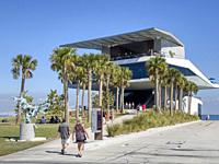 Pier Point and the Pier Point building on the new St Pete Pier opened in 2020 in St Petersburg Florida USA.