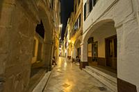 Streets with porticoes and arcades of the old town of Ciutadella, Menorca, Balearic Islands, Spain