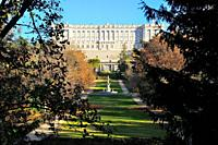 Royal Palace from the Campo del Moro garden. Madrid. Spain