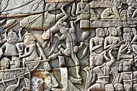 Bayon, buddhist temple of the Khmer Empire (12th century). Engravets. Angkor Thom, Siem Reap, Cambodia.