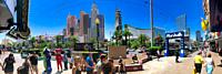 """LAS VEGAS - JUNE 26, 2019: View of """"""""The Strip"""""""" on a beautiful sunny day. Panoramic view."""