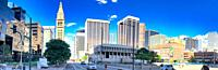 DENVER, CO - JULY 3, 2019: City streets and skyline on a beautiful summer day. Panoramic view.
