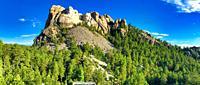 Mt Rushmore on a beautiful summer day, South Dakota. Panoramic view.