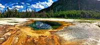 Hot spring in Yellowstone National Park. Panoramic view.