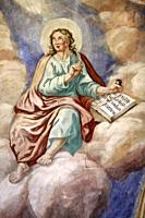 John the Apostle. Mural painted between 1785 and 1787 by Leonardo Isler. 1759-1837. (Leonard ISLER-Invenit and Pinxit 1787). Church of Our Lady of the...