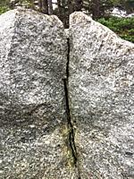 A granite boulder with a deep crack right down the middle, Nova Scotia, Canada.