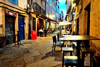 Pedestrian street in old city. Orense, Spain.