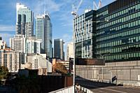 Sydney, New South Wales, Australia - Cityscape depicts the urban skyline with modern apartment towers and office buildings in the city centre.