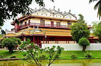 Ayutthaya, Phra Thinang Wehart Chamrun or Heaventy Light on Bang Pa-In Palace. Phra Nakhon Si Ayutthaya, Thailand.