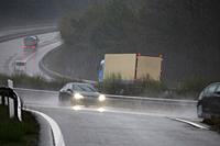 Rain slicked motorway in Germany.
