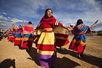 Indigenous people with traditional costumes during a performance at the Inti Raymi Festival 2018 in Saqsaywaman Archaeological Site, Cusco, Peru, Sout...