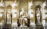Michelangelo's Moses inside San Pietro in Vincoli Church Rome Italy.