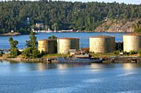 Fuel storage tanks. stockholm swedish archipelago.
