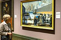 "A woman looks at Men of the docks"""". by George Bellows. Brooklyn dock scene New York. At the National Gallery London England UK."