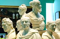 England, London, Trafalgar Square, National Portrait Gallery, Display of Marble Busts of Prominant Historical Figures.