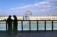 Iran, Isfahan, Unesco World Heritage Site, Naqhsh-e Jahan Square (Imam square), At the terrace of Ali Qapu palace.
