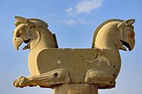 Iran, Unesco World Heritage Site, Persepolis, Huma (Homa) bird column capital, (Circa 500 BC). . The Huma bird is said to never come to rest, living i...