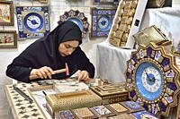 Iran, Fars province, Shiraz, Marquetry work.