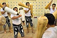 """Iran, Yazd, Unesco World Heritage Site, Inside a Zurkaneh (""""""""House of strength""""""""). . Zurkaneh is a traditional system of athletics originally used to ..."""