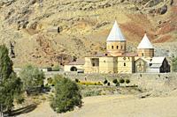 """Iran, West Azerbaijan province, Unesco World Heritage Site, Saint Thaddeus monastery (also known as Qara Kilise, the """"""""Black Church"""""""")."""