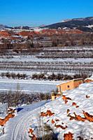 Snowy landscape in Ademuz region. Valencia.