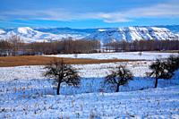 Snowy landscape in the course of the Turia river, in Villaspesa with the Sierra Javalambre at background. Teruel.