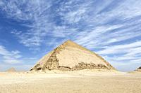 The bent pyramid with the red pyramid in the distance, Dahshur, Egypt.