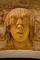 veiled face symbol of hospitality, Torre-Saura Palace, Cas Comte, Ciutadella, Menorca, Balearic Islands, Spain.