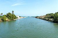 panoramic view, of the bridge of the English, in mallorca, canal grande, fresh water outlet to the mediterranean sea, in bay of alcudia,.