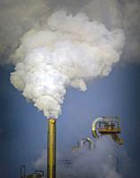 Pollution from petrochemical plant near Guadarranque, Cadiz Province, Spain.