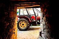Passage with a tractor, Manzaneda, Orense, Spain