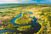 Aerial View Green Forest Woods And River Landscape In Sunny Spring Summer Day. Top View Of Beautiful European Nature From High Attitude In Autumn Seas...