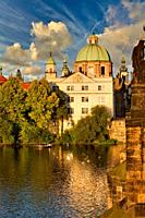St. Francis Of Assisi Church, Charles Bridge, Moldau river, Prague, Czech Republic, Europe