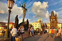 Charles Bridge, Moldau river, Prague, Czech Republic, Europe