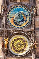 Astronomical clock on the Old Town City Hall, Staromestske Namesti (Old Town Square), Prague, Czech Republic, Europe.