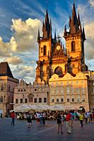 Tyn church in Staromestske Namesti (Old Town Square), Prague, Czech Republic, Europe.