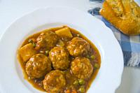 Meatballs with vegetables. Spain.