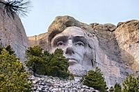Abraham Lincoln sculpture at Mount Rushmore National Memorial, South Dakota, USA.
