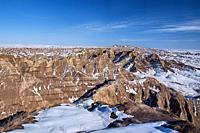 Badlands National Park in winter, South Dakota, U. S. A.
