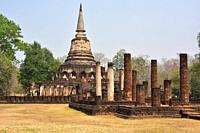 Si Satchanalai Historical Park, Wat Chang Lom (13th century), World Heritage. Sukhothai province, Thailand.