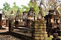 Si Satchanalai Historical Park, Wat Chedi Chet Thaeo (13th century), World Heritage. Sukhothai province, Thailand.