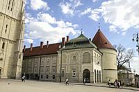 Zagreb, Croatia, Republika Hrvatska, Europe. The Archbishopâ. . s Palace, next to the cathedral. Zagreb Cathedral of the Assumption of the Blessed Vir...