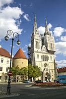 Zagreb, Croatia, Republika Hrvatska, Europe. Zagreb Cathedral of the Assumption of the Blessed Virgin Mary, located in Kaptol Square, The Cathedral is...
