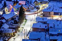 Bird's-eye view of Slovany village, Turiec region, Slovakia.