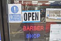 Barber and hairdresser shop reopened in first stage of lifting lockdown restrictions due to Coronavirus, Covid-19 pandemic, in Aberystwyth,Ceredigion,...