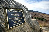 Plaque honoring Arthur Loeb on the Art Loeb Trail on Black Balsam Knob - Pisgah National Forest, Blue Ridge Parkway, near Asheville, North Carolina, U...