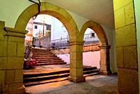 Arcade in the Town Hall of Viana do Bolo, Orense, Spain.